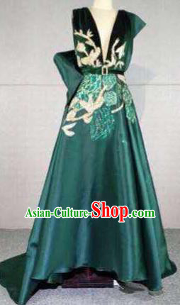 Top Grade Catwalks Customized Costume Green Silk Dress Stage Performance Model Show Clothing for Women