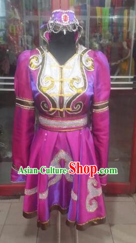 Chinese Traditional Folk Dance Costume Mongol Nationality Purple Dress for Women