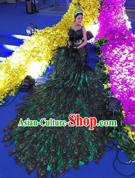 Top Grade Catwalks Costume Stage Performance Model Show Peacock Feather Dress for Women