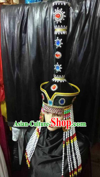 Chinese Traditional Mongolian Princess Black Hats China Mongol Nationality Wedding Headwear for Women