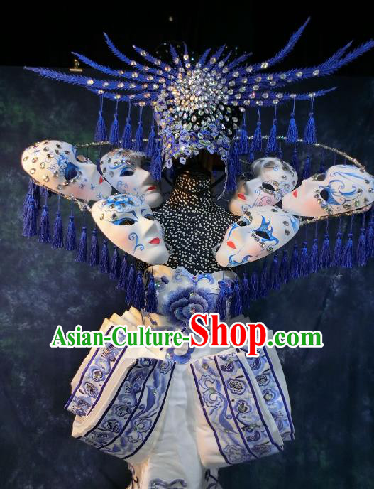 Top Grade Catwalks Costume Chinese Stage Performance Model Show Customized Dress for Women