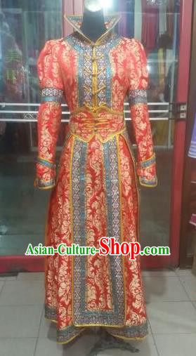 Chinese Traditional Mongolian Folk Dance Costume China Mongol Nationality Red Dress for Women