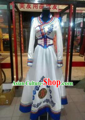 Chinese Traditional Mongolian Folk Dance Wedding Costume China Mongol Nationality Bride Dress for Women