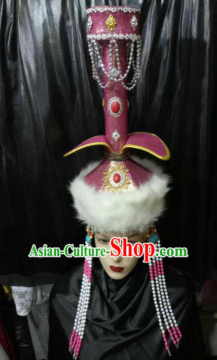 Chinese Traditional Mongolian Bride Purple Hats China Mongol Nationality Wedding Headwear for Women
