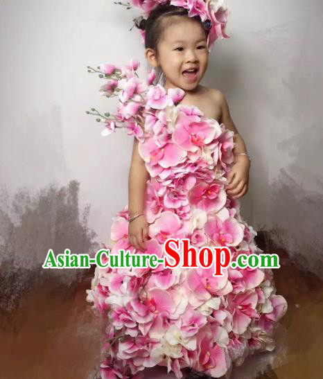 Top Grade Catwalks Costume Stage Performance Model Show Customized Pink Flowers Dress for Kids