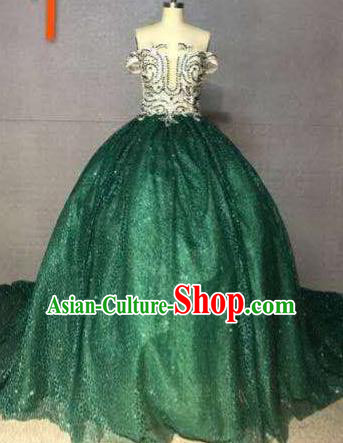 Top Grade Catwalks Costume Stage Performance Model Show Customized Green Bubble Dress for Women