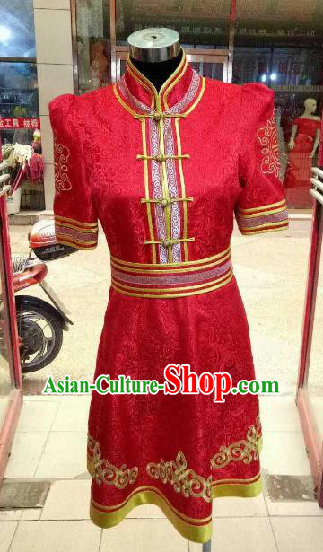 Chinese Traditional Mongolian Costume China Mongol Nationality Folk Dance Red Dress for Women