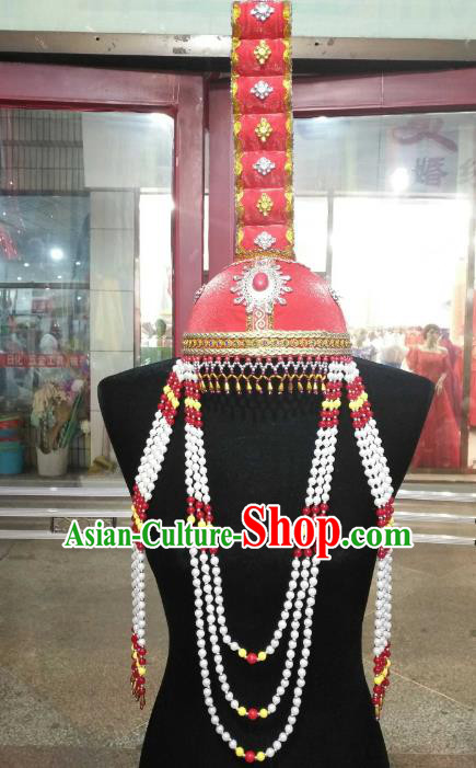 Chinese Traditional Mongolian Folk Dance Hats China Mongol Nationality Queen Beads Tassel Headwear for Women