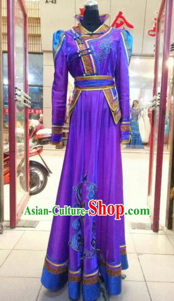 Chinese Traditional Mongolian Wedding Costume China Mongol Nationality Folk Dance Purple Dress for Women