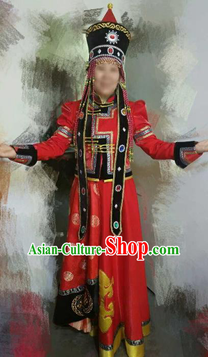 Chinese Traditional Mongolian Folk Dance Clothing China Mongol Nationality Wedding Costume and Hat for Women