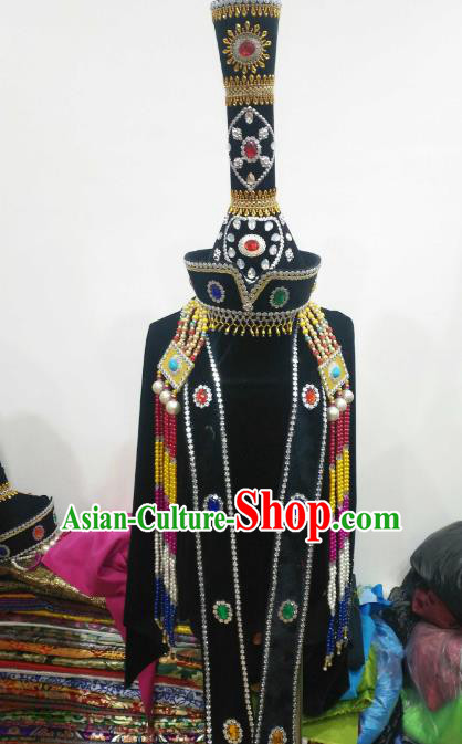 Chinese Traditional Mongolian Princess Black Hats Mongol Nationality Hair Accessories Folk Dance Headwear for Women