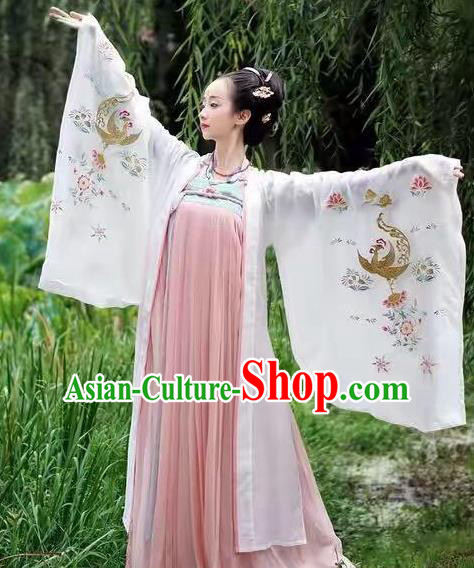 Traditional Chinese Ancient Empress Embroidered Costume Tang Dynasty Palace Queen Dance Hanfu Dress for Women