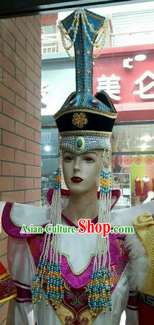 Chinese Traditional Mongolian Queen Blue Hats Mongol Nationality Hair Accessories Folk Dance Headwear for Women