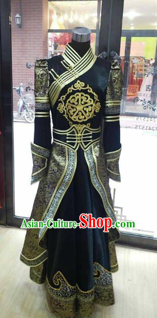 Chinese Traditional Mongolian Folk Dance Black Dress China Mongol Nationality Bride Costume for Women