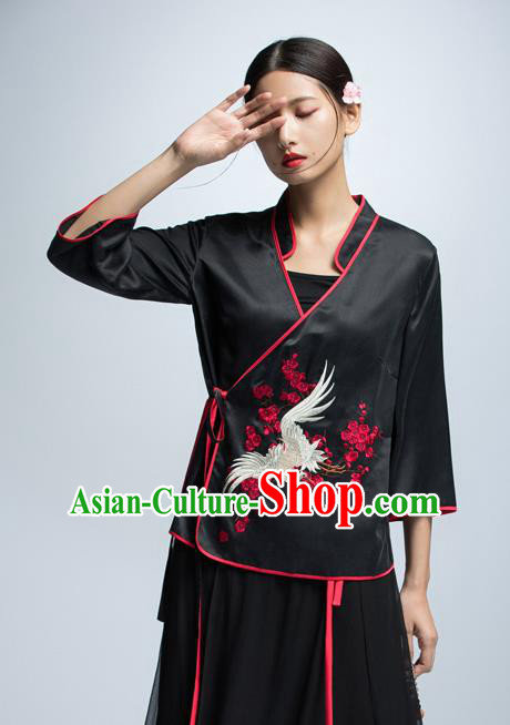 Chinese Traditional Costume Embroidered Crane Cheongsam Blouse China National Upper Outer Garment Shirt for Women