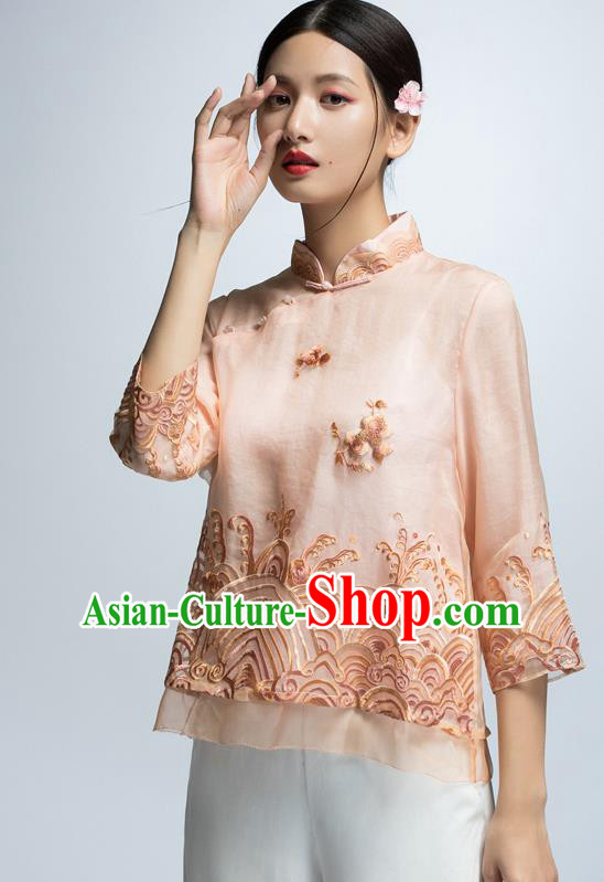Chinese Traditional Costume Embroidered Pink Cheongsam Blouse China National Upper Outer Garment Shirt for Women