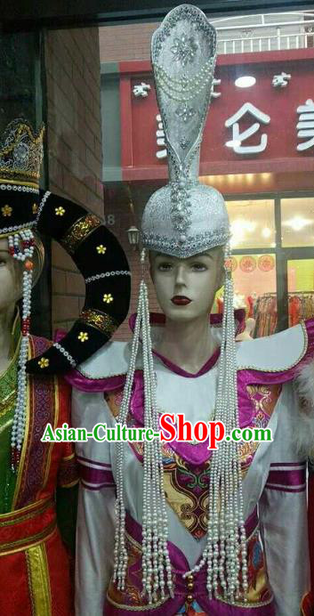 Chinese Traditional Mongolian Argentate Hats Mongol Nationality Hair Accessories Folk Dance Headwear for Women