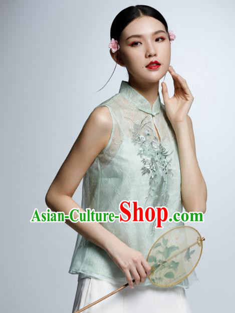 Chinese Traditional Costume Embroidered Green Cheongsam Blouse China National Upper Outer Garment Shirt for Women