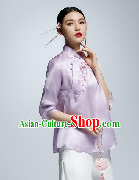 Chinese Traditional Costume Embroidered Purple Cheongsam Blouse China National Upper Outer Garment Shirt for Women