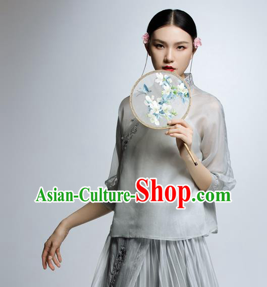Chinese Traditional Costume Embroidered Grey Blouse China National Upper Outer Garment Shirt for Women