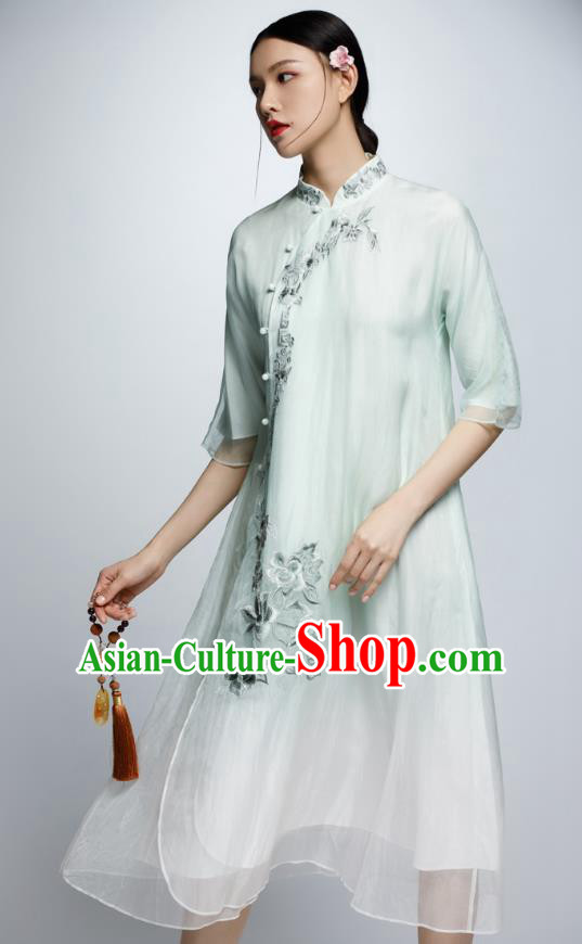 Chinese Traditional Green Organza Cheongsam China National Costume Tang Suit Qipao Dress for Women