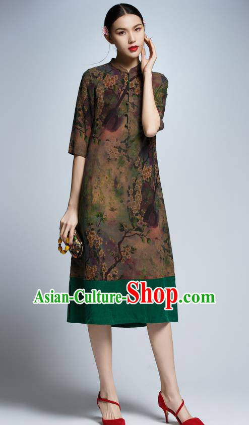 Chinese Traditional Printing Cheongsam China National Costume Tang Suit Qipao Dress for Women