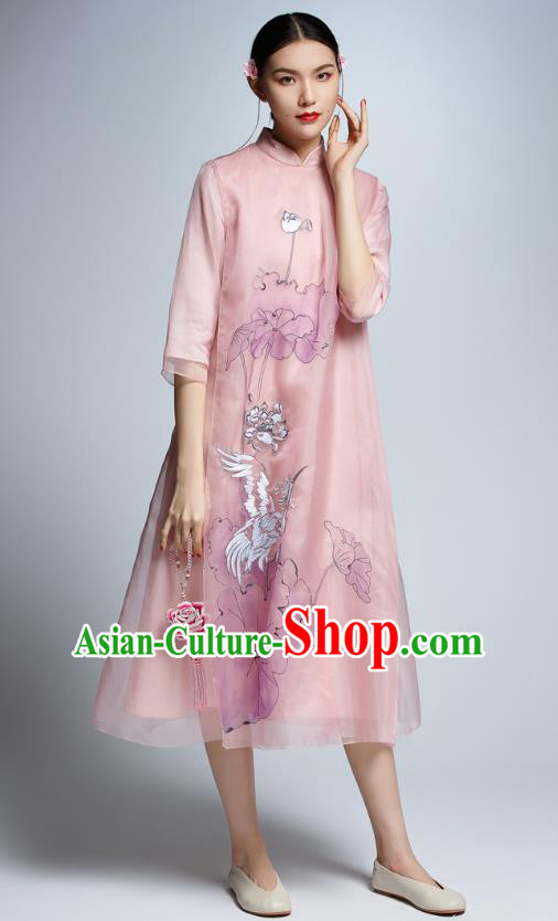 Chinese Traditional Printing Lotus Crane Pink Cheongsam China National Costume Tang Suit Qipao Dress for Women