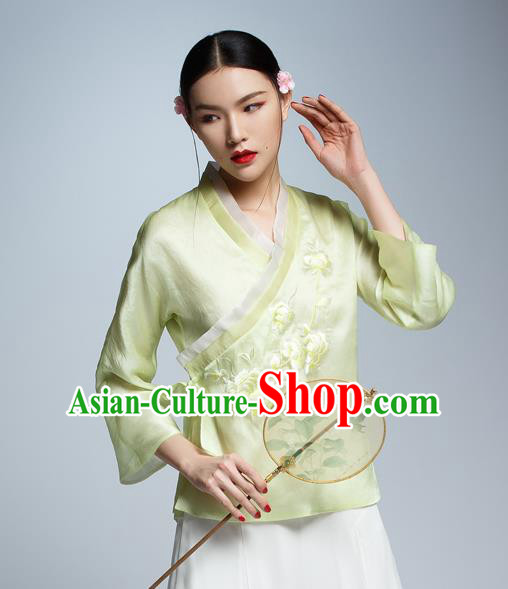 Chinese Traditional Costume Embroidered Silk Cheongsam Blouse China National Upper Outer Garment Shirt for Women