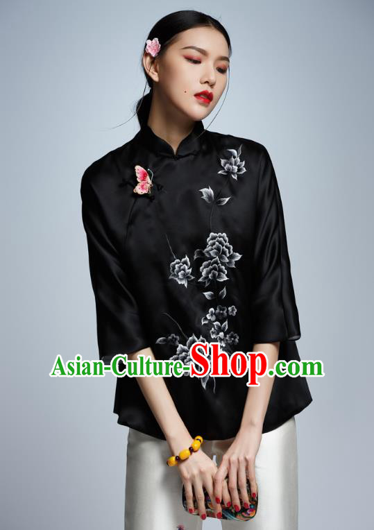 Chinese Traditional Costume Embroidered Black Cheongsam Blouse China National Upper Outer Garment Shirt for Women