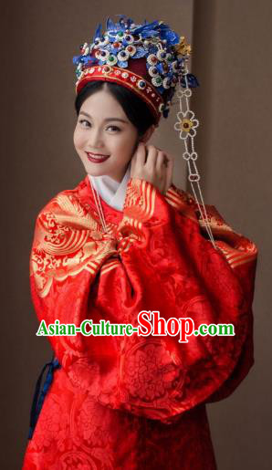 Chinese Ancient Ming Dynasty Queen Embroidered Costume Bride Red Robe for Women