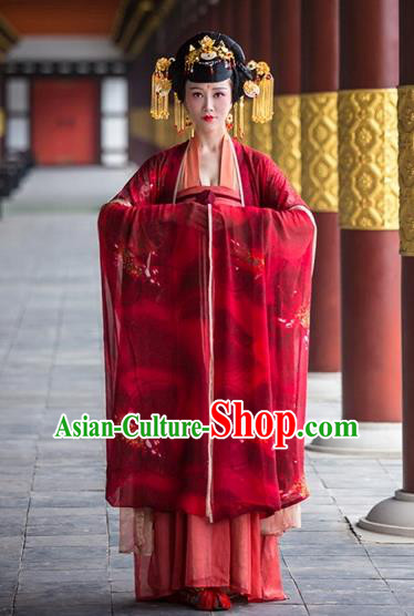 Chinese Ancient Tang Dynasty Imperial Empress Hanfu Dress Palace Wedding Embroidered Costumes for Women