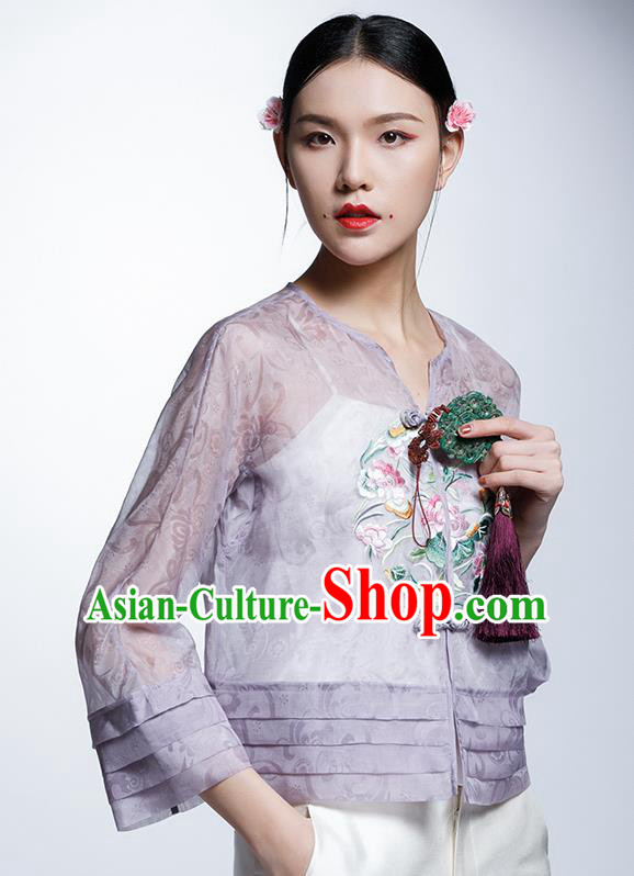 Chinese Traditional Costume Embroidered Lotus Purple Cheongsam Blouse China National Upper Outer Garment Shirt for Women