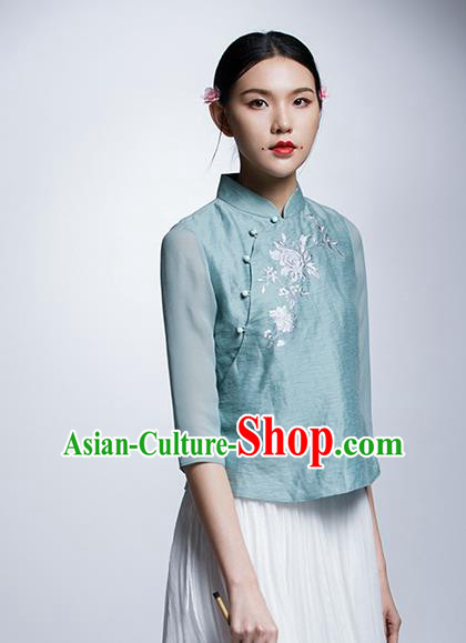 Chinese Traditional Costume Embroidered Flowers Green Cheongsam Blouse China National Upper Outer Garment Shirt for Women
