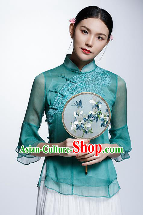 Chinese Traditional Costume Embroidered Green Organza Cheongsam Blouse China National Upper Outer Garment Shirt for Women