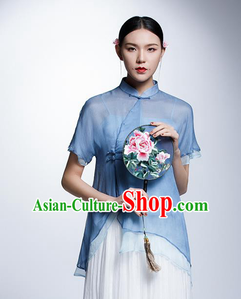 Chinese Traditional Tang Suit Blue Blouse China National Upper Outer Garment Cheongsam Shirt for Women