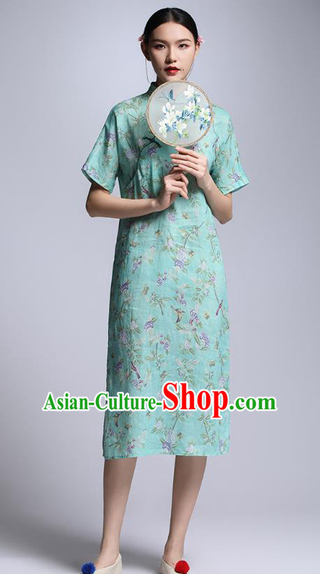 Chinese Traditional Tang Suit Green Cheongsam China National Qipao Dress for Women