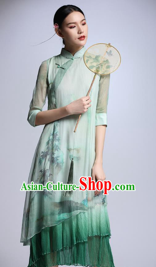 Chinese Traditional Tang Suit Printing Green Cheongsam China National Qipao Dress for Women