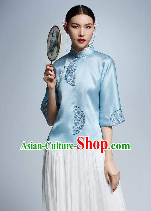 Chinese Traditional Costume Embroidered Blue Cheongsam Blouse China National Upper Outer Garment Shirt for Women
