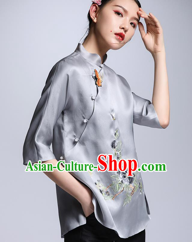 Chinese Traditional Tang Suit Grey Silk Blouse China National Upper Outer Garment Cheongsam Shirt for Women