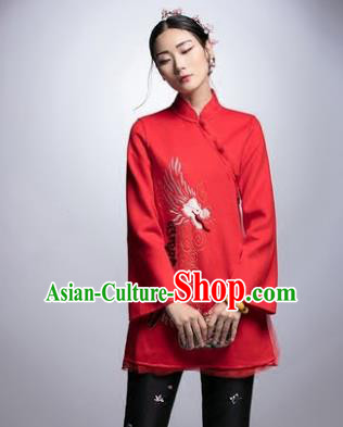 Chinese Traditional Tang Suit Red Jacket China National Upper Outer Garment Cheongsam Shirt for Women