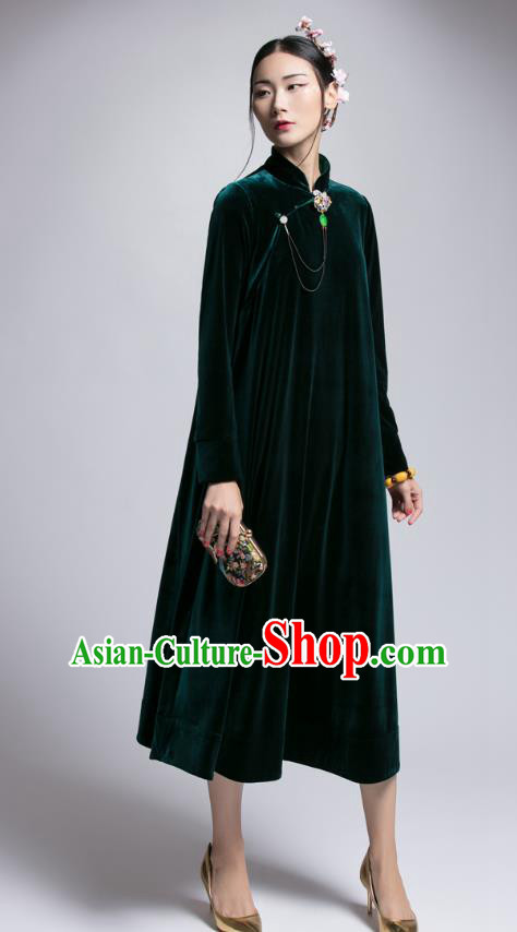 Chinese Traditional Tang Suit Green Velvet Cheongsam China National Qipao Dress for Women