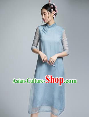 Chinese Traditional Tang Suit Blue Silk Cheongsam China National Qipao Dress for Women