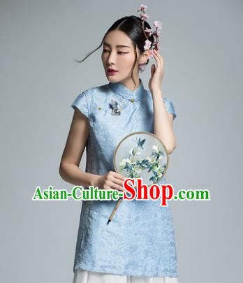 Chinese Traditional Tang Suit Blue Blouse China National Upper Outer Garment Shirt for Women