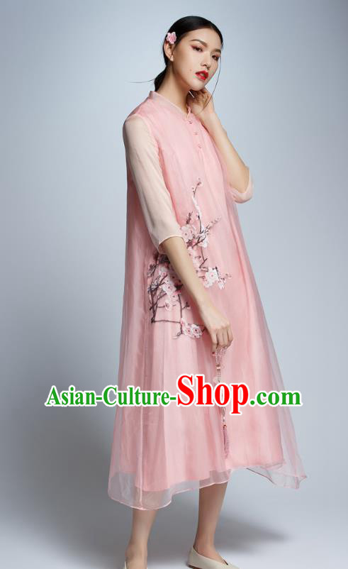 Chinese Traditional Tang Suit Printing Plum Blossom Pink Cheongsam China National Qipao Dress for Women