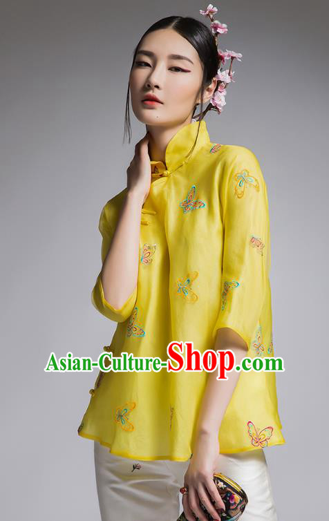 Chinese Traditional Tang Suit Embroidered Butterfly Yellow Blouse China National Upper Outer Garment Shirt for Women