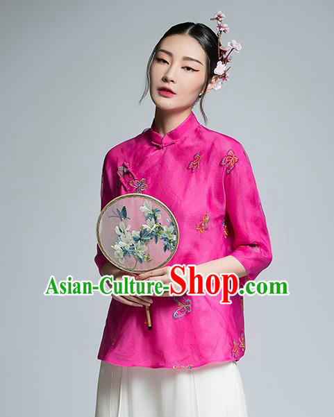 Chinese Traditional Tang Suit Embroidered Butterfly Rosy Blouse China National Upper Outer Garment Shirt for Women