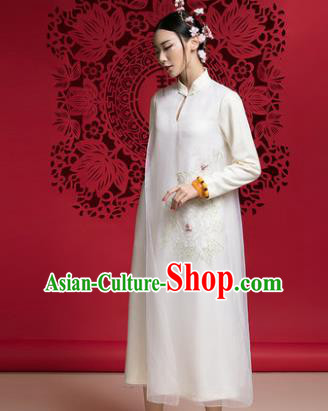 Chinese Traditional Tang Suit White Woolen Cheongsam China National Qipao Dress for Women