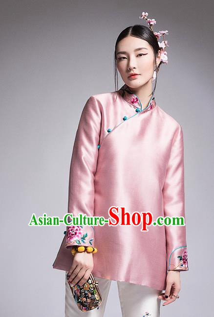 Chinese Traditional Tang Suit Pink Cotton-Padded Jacket China National Upper Outer Garment Coat for Women