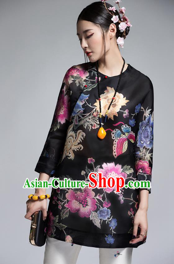 Chinese Traditional Tang Suit Printing Black Blouse China National Upper Outer Garment Shirt for Women