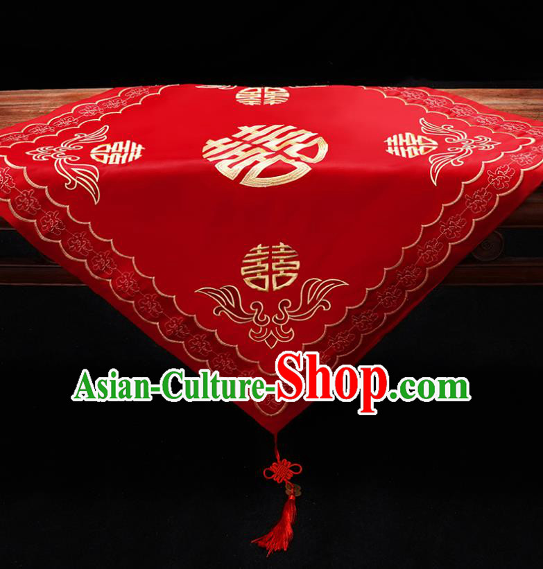 Chinese Traditional Wedding Head Cover Ancient Bride Embroidered Red Bridal Veil for Women